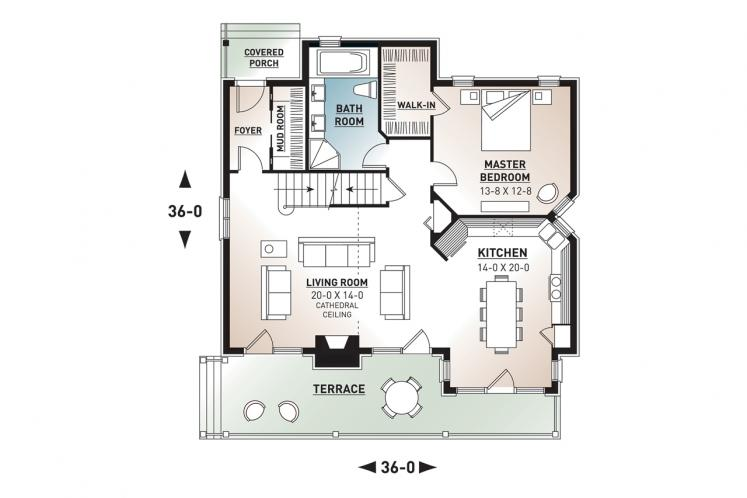 Cottage House Plan - Touchstone 46969 - 1st Floor Plan