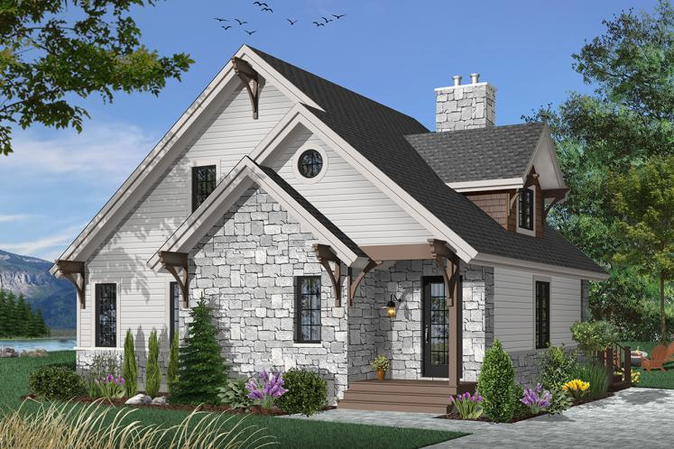 Cottage House Plan - Touchstone 46969 - Front Exterior