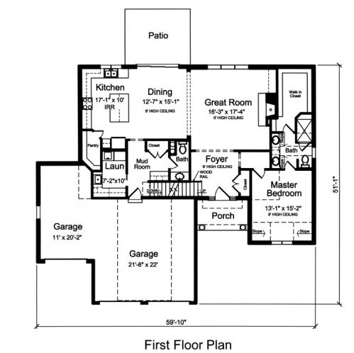 Country House Plan - The Whitford 47387 - 1st Floor Plan