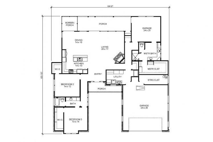 Craftsman House Plan - Portland 47515 - 1st Floor Plan