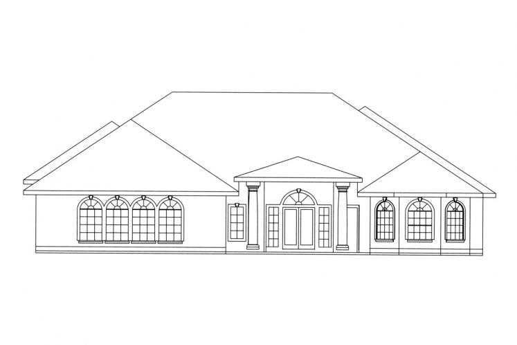 Southwest House Plan -  47531 - Rear Exterior