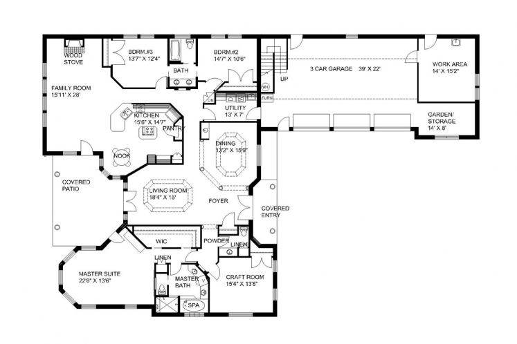 Contemporary House Plan -  47531 - 1st Floor Plan