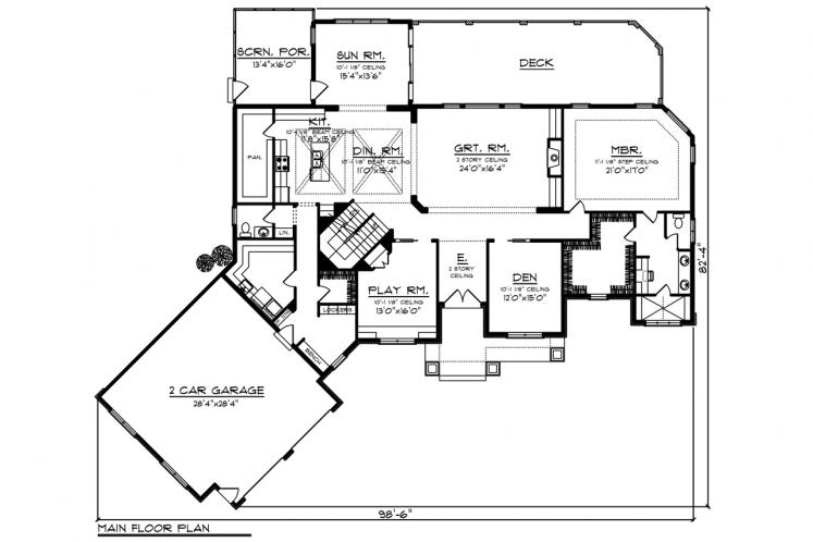 Traditional House Plan -  47535 - 1st Floor Plan