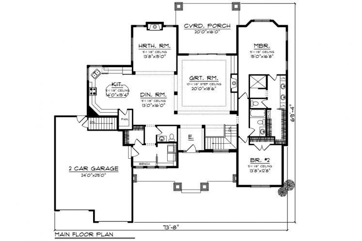 Traditional House Plan -  47536 - 1st Floor Plan