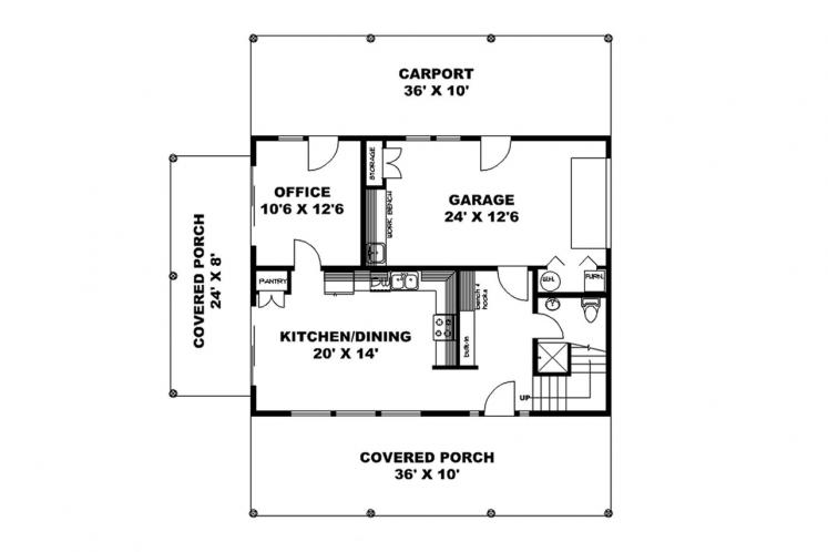 Country House Plan -  47839 - 1st Floor Plan