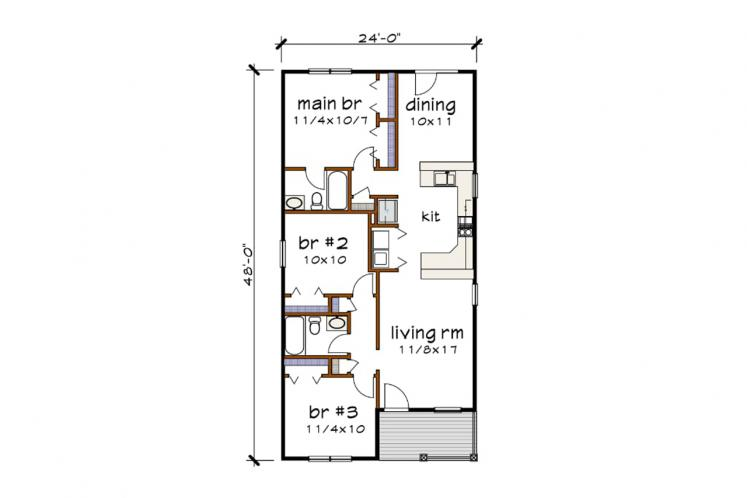 Cottage House Plan -  47911 - 1st Floor Plan