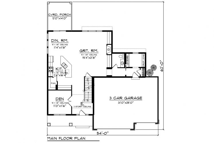 Traditional House Plan -  48095 - 1st Floor Plan