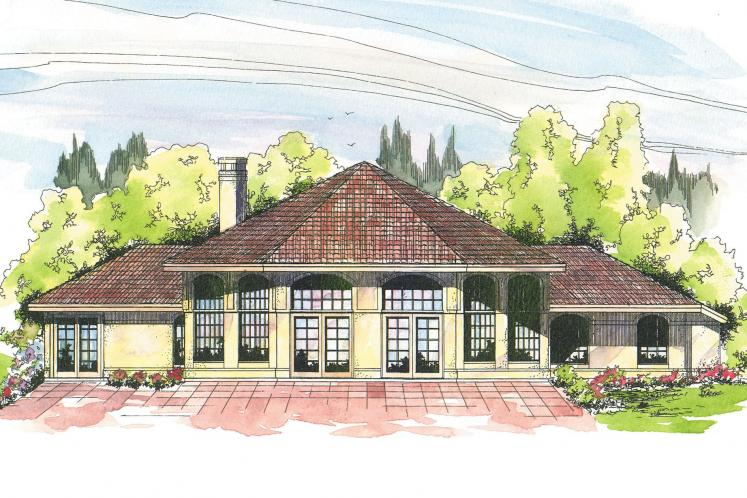 Southwest House Plan - Oakland 48140 - Rear Exterior