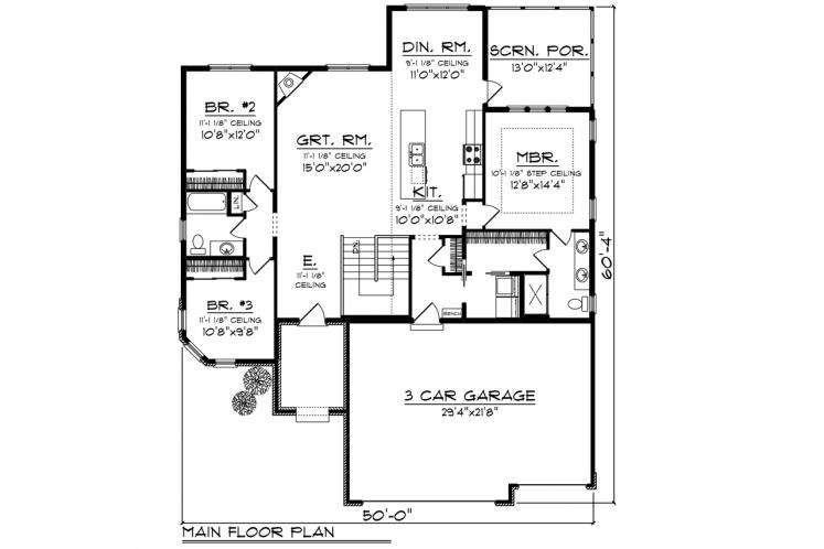 European House Plan -  48187 - 1st Floor Plan