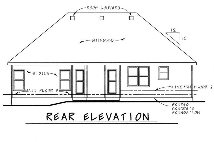 Country House Plan - Tollefson BL 48322 - Rear Exterior