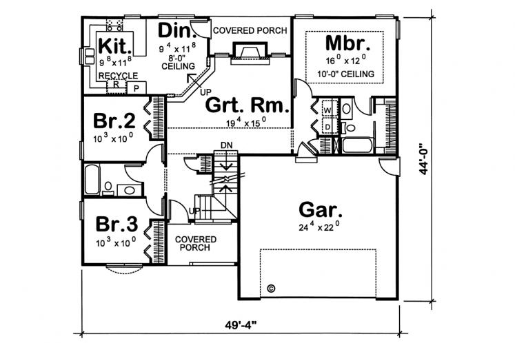 Country House Plan - Tollefson BL 48322 - 1st Floor Plan