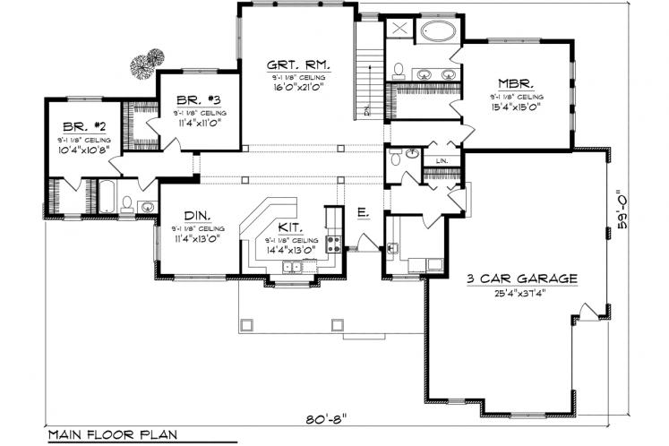 Traditional House Plan -  48323 - 1st Floor Plan