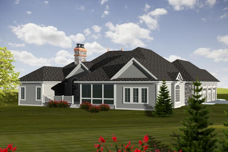 European House Plan -  48359 - Rear Exterior