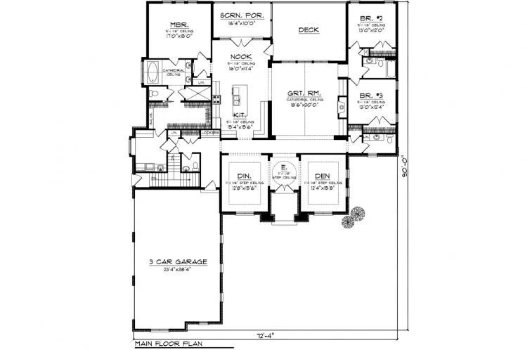 Ranch House Plan -  48359 - 1st Floor Plan
