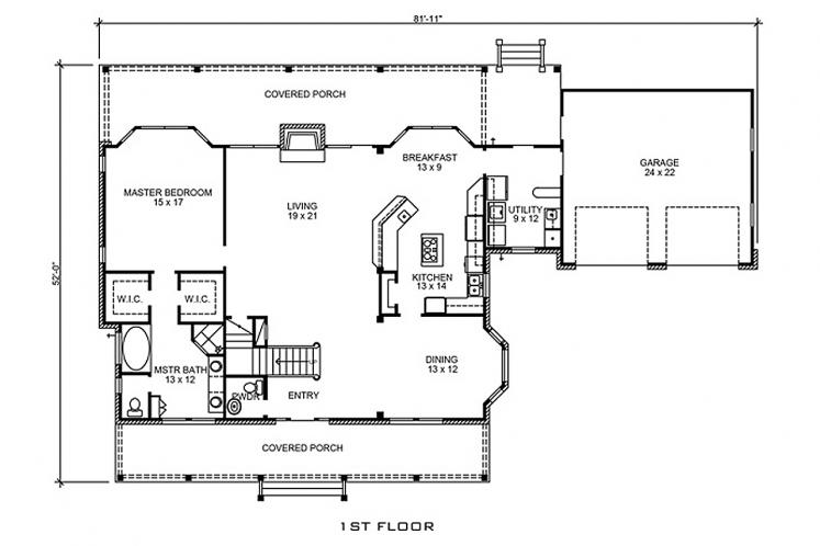 Country House Plan - Dale 48368 - 1st Floor Plan