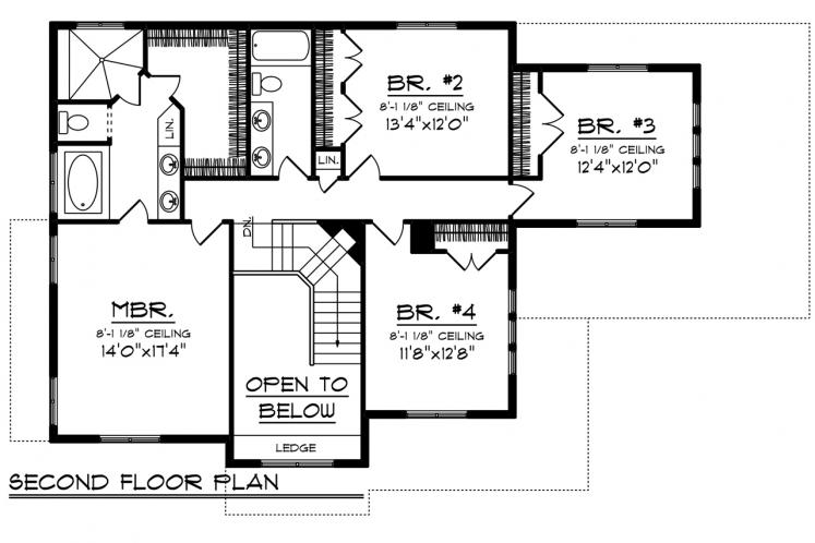 Traditional House Plan -  48413 - 2nd Floor Plan