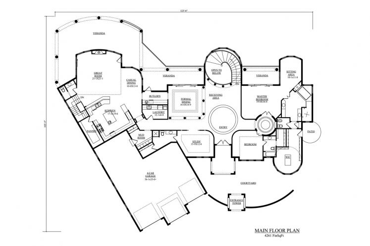 Tuscan House Plan - Venezia 48616 - 1st Floor Plan