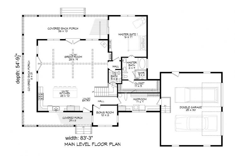 Country House Plan -  48721 - 1st Floor Plan