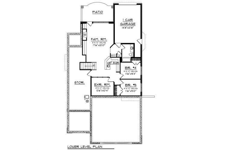 Bungalow House Plan -  48739 - Basement Floor Plan