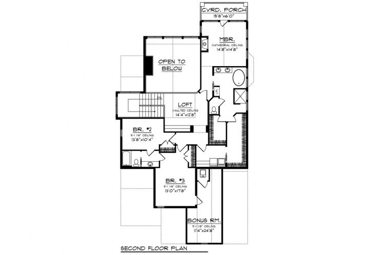 Craftsman House Plan -  48739 - 2nd Floor Plan