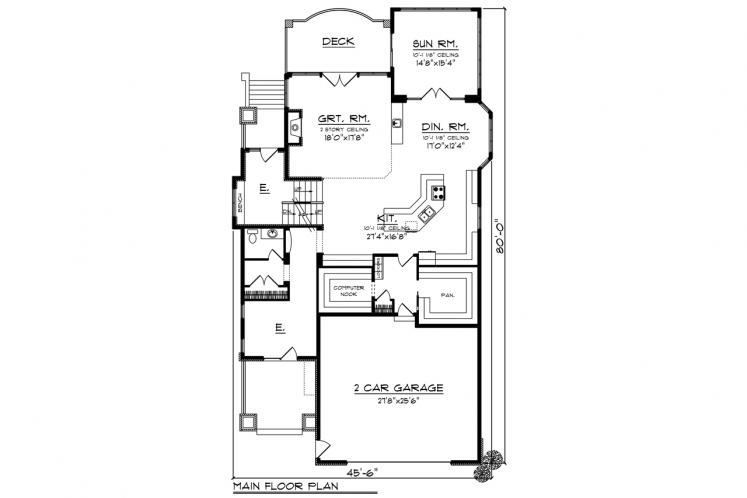 Bungalow House Plan -  48739 - 1st Floor Plan