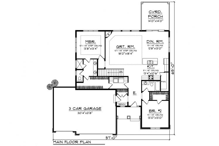 Traditional House Plan -  48771 - 1st Floor Plan
