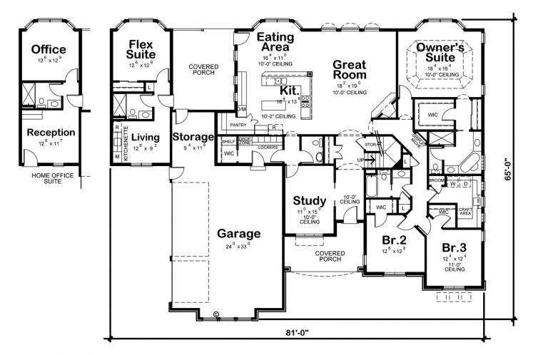 Southwest House Plan - McAllister Knoll 48788 - 1st Floor Plan