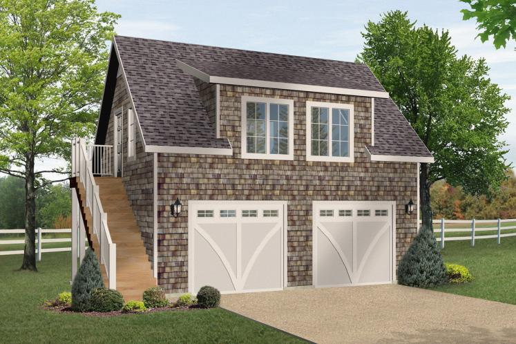 Colonial Garage Plan -  48919 - Front Exterior