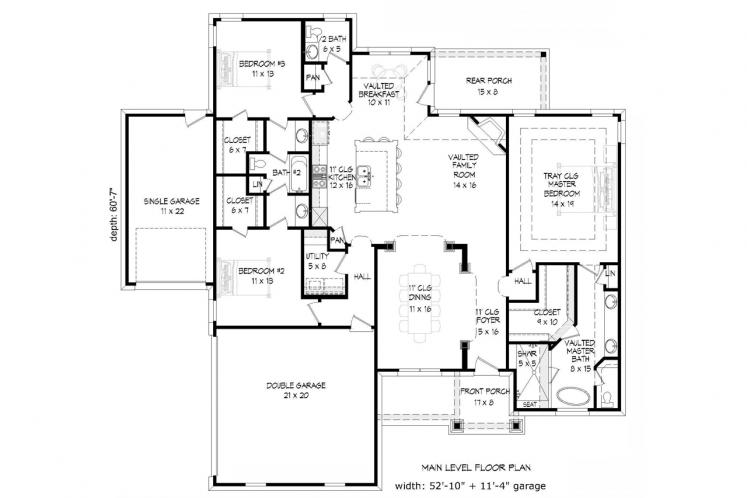 Ranch House Plan - Cascades 49331 - 1st Floor Plan