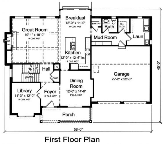 Country House Plan - The Montclaire 49373 - 1st Floor Plan