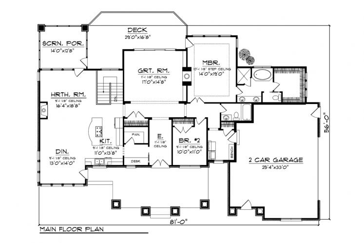 Traditional House Plan -  49477 - 1st Floor Plan