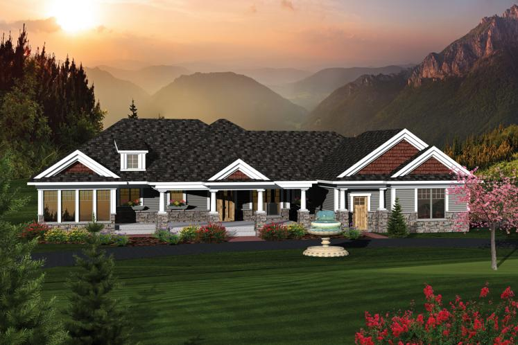 Ranch House Plan -  49477 - Front Exterior