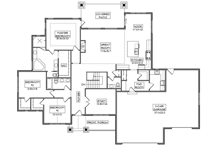 Craftsman House Plan - Lincoln 49487 - 1st Floor Plan