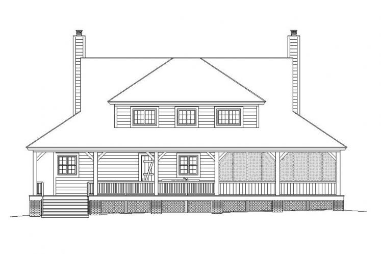 Farmhouse House Plan -  49538 - Rear Exterior
