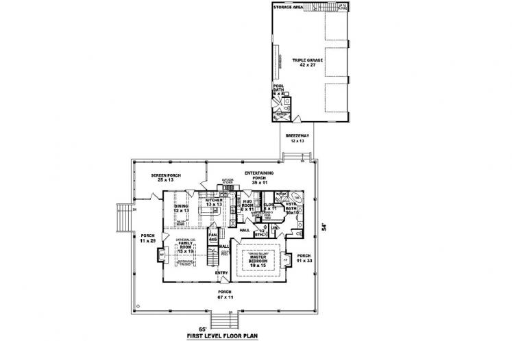 Farmhouse House Plan -  49538 - 1st Floor Plan