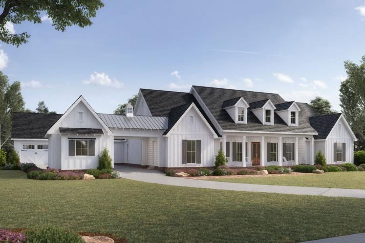 Colonial House Plan - Richmond Hill 49999 - Front Exterior