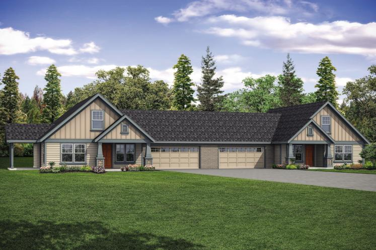 Craftsman Multi-family Plan - Archwood 50196 - Front Exterior