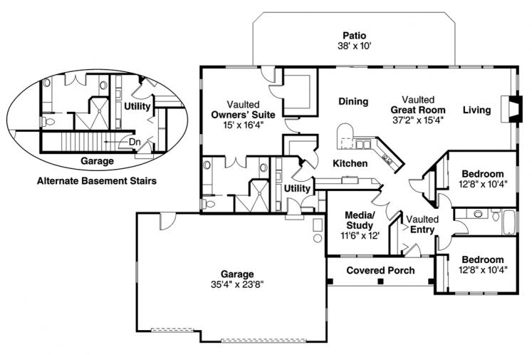 Mediterranean House Plan - Northrop 50239 - 1st Floor Plan