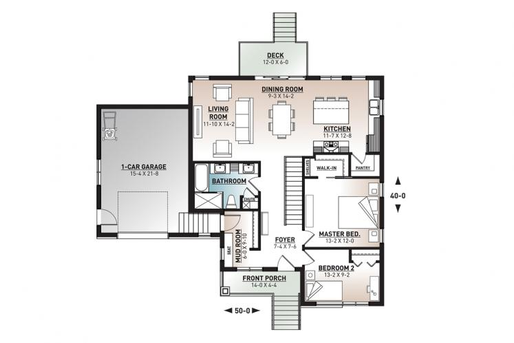 Ranch House Plan - Camille 2 50595 - 1st Floor Plan