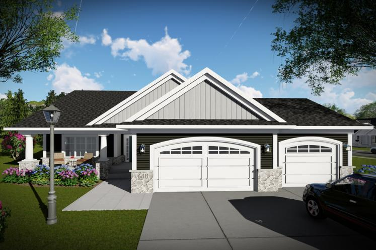 Ranch House Plan -  50600 - Front Exterior