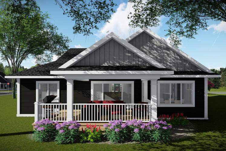 Ranch House Plan -  50600 - Rear Exterior