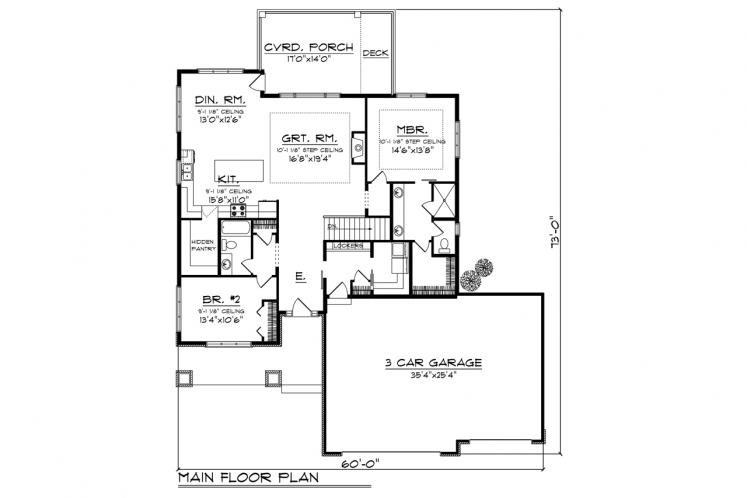 Ranch House Plan -  50600 - 1st Floor Plan