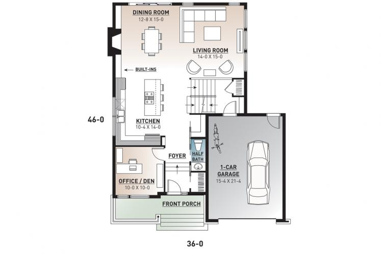 Modern House Plan - Sallinger 2 50639 - 1st Floor Plan