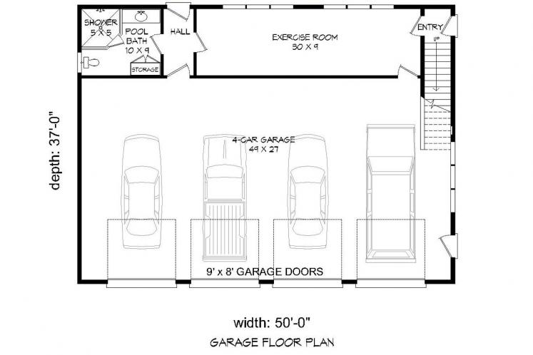 Traditional Garage Plan -  50854 - 1st Floor Plan