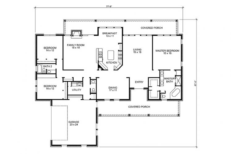 Farmhouse House Plan - Kingsbury 50882 - 1st Floor Plan