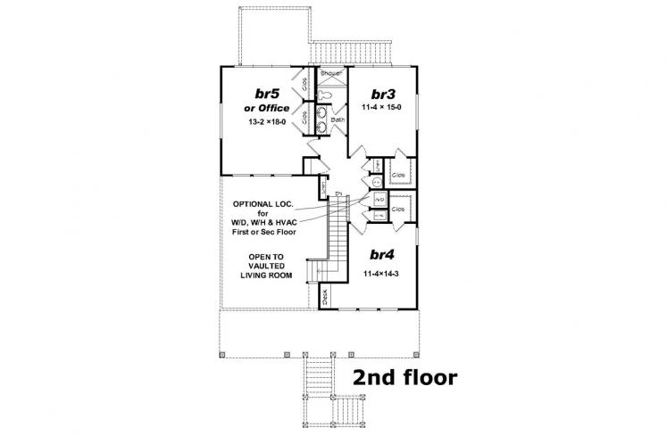 Southern House Plan -  50945 - 2nd Floor Plan