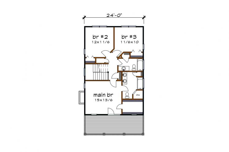 Southern House Plan -  51220 - 2nd Floor Plan
