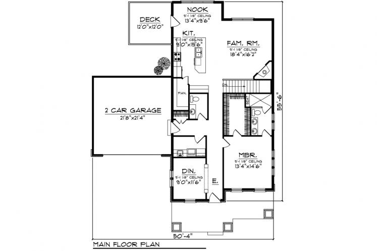 Ranch House Plan -  51364 - 1st Floor Plan