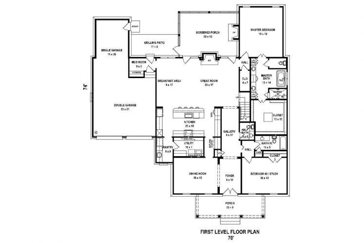 Traditional House Plan -  51407 - 1st Floor Plan