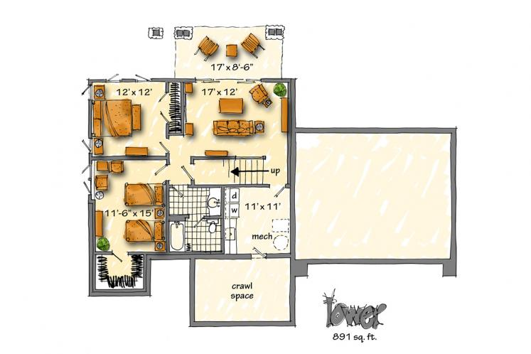 Country House Plan - Fall River II 51674 - Basement Floor Plan